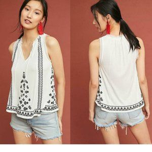 Anthropologie Chelsey Embroidered Tank